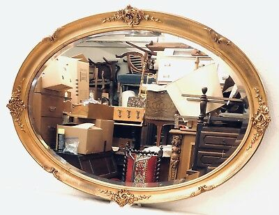 Antique French Large Gilded Oval Beveled Glass Mirror~L.~44 1/2~late 19th Cent.