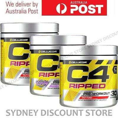 CELLUCOR C4 RIPPED PRE WORKOUT ENERGY THERMOGENIC FAT BURNER GEN4 30 SERVES x 3