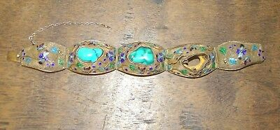 Antique Chinese Export Guilded Sterling Silver Filigree Turquoise Bracelet AS IS