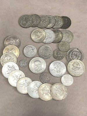Large Lot Of Mexican Silver Coins Many Old Huge Variety! Don't Miss! No Reserve!