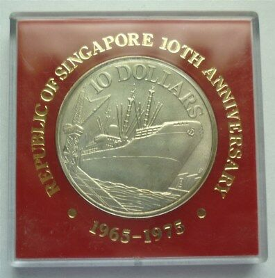 1975 SINGAPORE 10 DOLLARS - 10 YRS. INDEPENDENCE - 1/2 Oz MINT BU SILVER -RARE