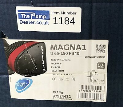 Grundfos Magna1D 65-150F 97924412 340mm Twin-Head Flanged Circulating Pump #1184