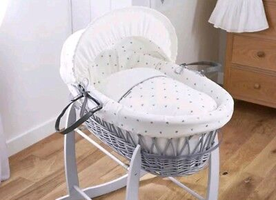 Clair de Lune Lullaby Hearts Grey Wicker Moses Basket, Ivory
