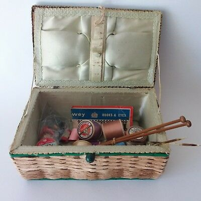 Vintage Sewing Basket & Sewing Items Wooden Cotton Reels Hooks Thimbles & More