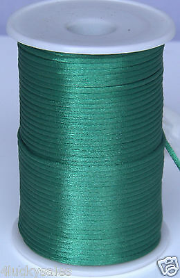 10yd dark green 2MM Rattail Satin Cord Macrame Beading Nylon Chinese knot rope
