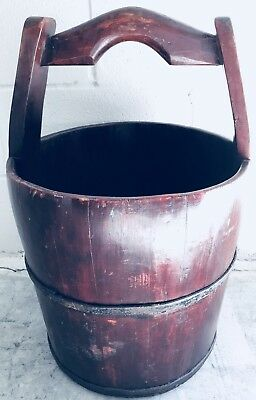 Vintage Stave Wood And Banded Iron Water Well Bucket Pail, Large 5 Gallon