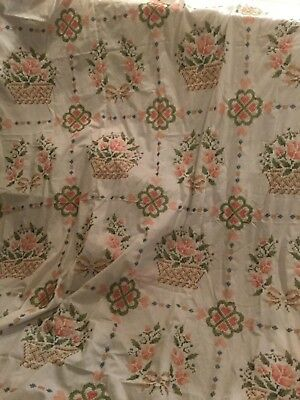 """Vintage Cross Stitch Quilt Top, Country Basket by Paragon, King/Queen 103"""" x 103"""