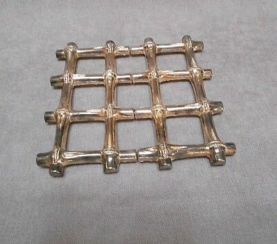 Vintage French chrome FAUX BAMBOO Style Expandable Trivet