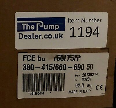 Lowara Xylem FCE 80 160/75/P End Suction Pump 7.5kw 415 #1194