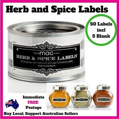 Herb & Spice Labels Set of 50 (5 Blank) Self Adhesive Bottle Tags Hamptons Decor