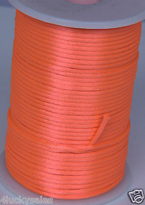 hot 10yard orange 2MM Rattail Satin Cord Macrame Beading Nylon Chinese knot rope