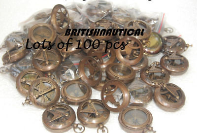 Buy Lots of 100 pcs Antique Engraved Sundial Push Button Compass