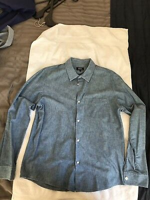 APC Paris Mens Luxury Bespoke Chambray Shirt Size L