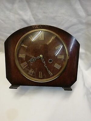 (379)   Wooden Mantle Peice Clock With Quartz Battery Movment Made By Enfiel Clo