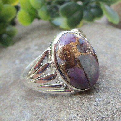 Purple Copper Turquoise Gemstone Ring Sterling Solid Silver Jewelry - All SIZES