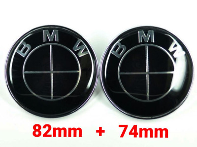 2pcs BMW EMBLEM FULL Black 82mm +74mm HOOD/TRUNK BADGE symbol logo E46 E90 E36