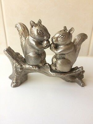 Squirrel And Branch Salt & Pepper Shakers - Vintage - Silver Plated - Unused