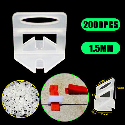 2000X Tile Leveling System Clips Levelling Spacer Tiling Tool Wall Floor 1.5mm