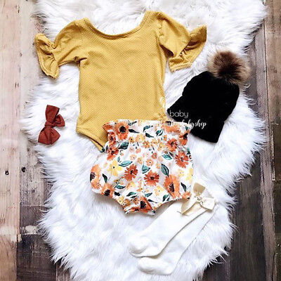 AU 2PCS Newborn Toddler Clothes Baby Girls Romper Bodysuit+Pants Shorts Outfits