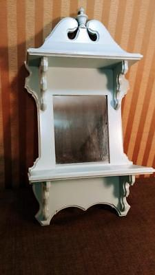 Newly Painted Oak Victorian Style Wall Shelf w/ Mirror Handcrafted V. L. Setters