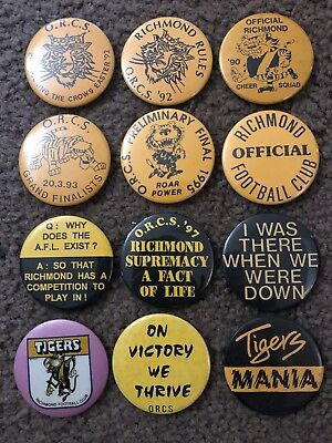 VFL AFL Richmond Tigers Badges X 12