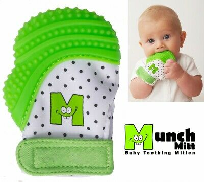 NEW Munch Mitt Silicone Baby TEETHER Teething Mitten with Travel Wash Bag GREEN