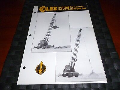 Coles Cranes 335M Dynamic Compactor Leaflet Tech Spec 3904/6/82P *As Pictures*