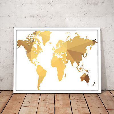 World Map Gold Modern Home Wall Decor Art Poster Print - A3 A2 A1 A0 Framed