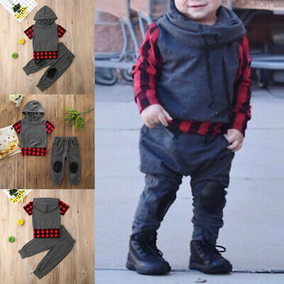 2Pcs New Kids Baby Boy Sweatshirt Tops + Jogger Pants Tracksuit Outfits Set US