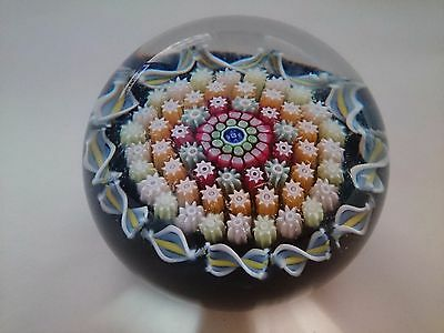 Perthshire Maltese Cross Complex Cane Millefiori Art Glass Paperweight