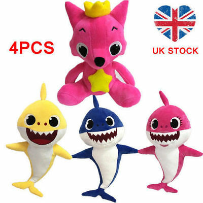 Cute PinkFong Family Baby Shark Fox Toys Plush Soft Dolls Stuffed Toy Kids Gift