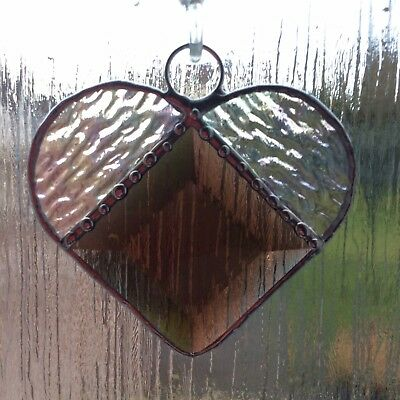 Hand Made Stained Glass Bevelled Heart