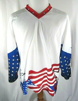 Vintage Mens ProJoy Red White Blue American Flag Jersey Size Large L