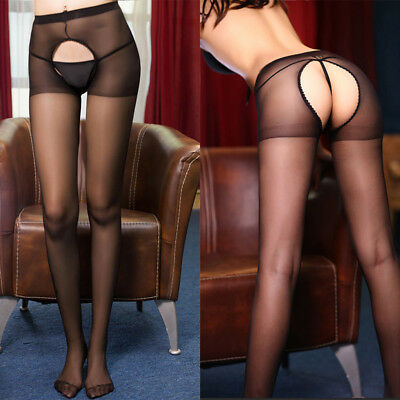 Sexy Women Fitness Open Crotch Crotchless Sheer Pantyhose Stockings Tights