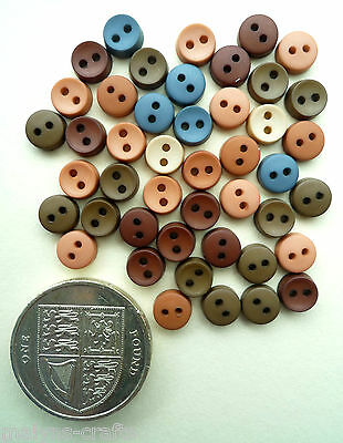 AUTUMN ROUND 6mm Craft Buttons 1ST CLASS POST Clothes Doll Tiny Mini Baby Small