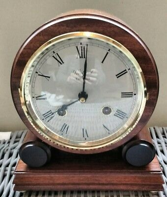 Mantle Clock Franz Hermle Woodford 131-070 Chiming Brass Movement Mahogany Case