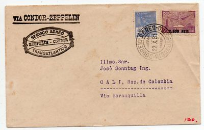 1931 Brazil To Colombia Zeppelin Cover Via Germany, Great Rarity, Look