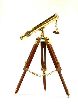 """Brass Telescope On a Wooden Tripod Stand 10"""" Tube Length  ~ Maritime"""