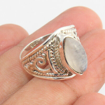 Rainbow Moonstone Gemstone Jewelry Sterling Silver Ring Gift For Her - All SIZES