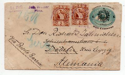 1896 Guatemala To Germany Cover, Bird Stamps, Rare Postal Stationery !!