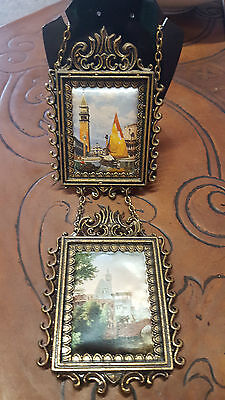 VINTAGE MINI HANGING BRASS LOOK PICTURE FRAME WITH SILK PICTURES ITALY 10x7cm