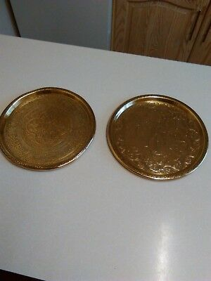 Vintage Pair of Engraved Indian Brass Trays/Plates (1602)