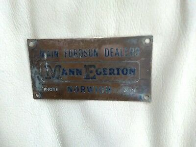 Main dealers suppliers plate for fordson tractor's