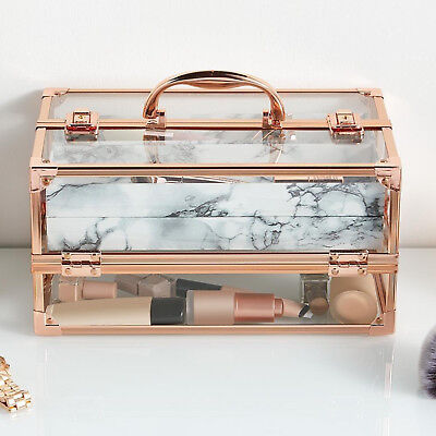 Rose Gold Acrylic Makeup Case Large Cosmetic Make Up Beauty Storage Bag