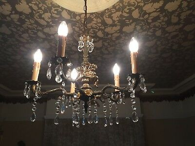 Beautiful Crystal & Gold Coloured French Antique Cherub Chandelier Light Fitting