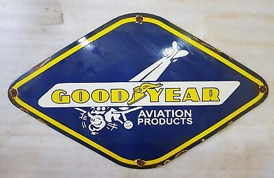 Goodyear Aviation Products 30 X 18 Inches Vintage Enamel Sign