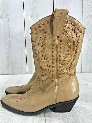 e0e7d23ec97 GIANNI BINI PEBBLED Tan Brown Leather Inlay Western Cowboy Ranch Boots  Women 6 M