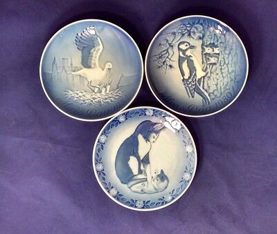 3 ROYAL COPENHAGEN Mothers Day Plates  Woodpeckers, Storks, Cat and Kitten