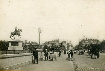 Pont Neuf Paris Attelage cheval Horse Team passants Passerby S.I.P Photo CC 1900