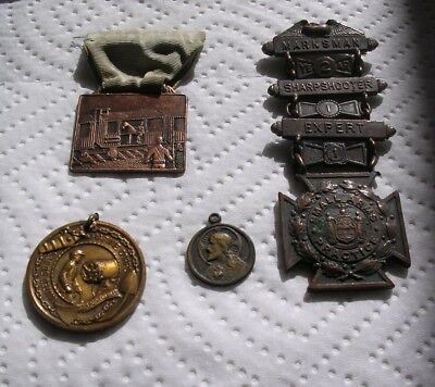 Antique Tiffany & Co War Medals Lot Engraved Name Date 1909